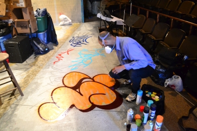 BRAME UW painting on the set of SPUN.